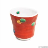 Porcelain Cups and Teapots / Modern Kutani Porcelain Cup: Red with Dots Pattern