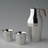 Pewter Decanter and Sake Cup Set: Diamond Pattern