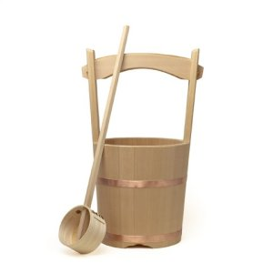 Photo1: Wooden Containers and Tableware / Wooden Bucket and Dipper Set