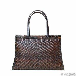 Photo1: Rattan Bags / Wickerwork Diagonal Pattern Handbag