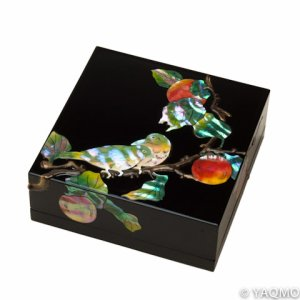 Photo1: Raden Lacquerware Jewelry Box / Persimmon
