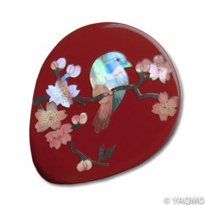Photo1: Raden Lacquerware Mirror - Sakura / Red