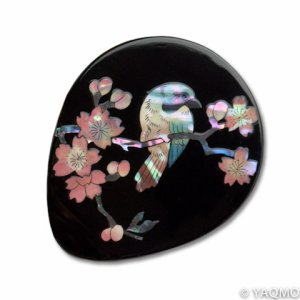 Photo1: Raden Lacquerware Mirror - Sakura / Black