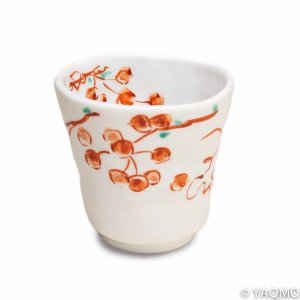 Photo1: Porcelain Cups and Teapots / Modern Kutani Porcelain Cup: Red Nuts Pattern
