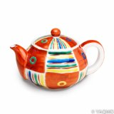 Porcelain Cups and Teapots / Modern Kutani Porcelain Teapot: Kutani Four Color Pattern
