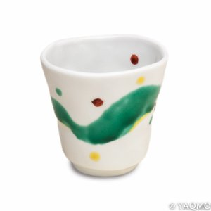 Photo1: Porcelain Cups and Teapots / Modern Kutani Porcelain Cup: Green Wave Pattern
