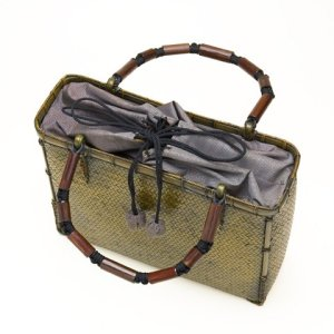 Photo2: Bamboo Bags / Wickerwork Weave Bag (medium)