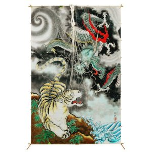 Photo1: Japanese Edo Kites Graphics /  Dragon and Tiger