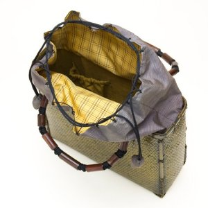 Photo3: Bamboo Bags / Wickerwork Weave Bag (medium)