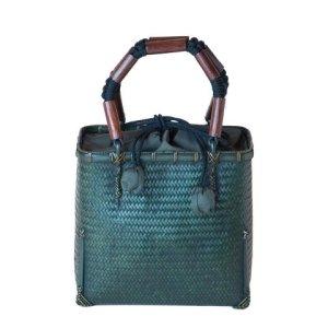 Photo1: Bamboo Bags / Wickerwork Weave Bag (small)