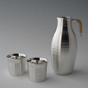 Photo1: Pewter Decanter and Sake Cup Set: Stripe Pattern