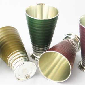 Photo2: Pewter Tumblers: Rippling Wave Pattern
