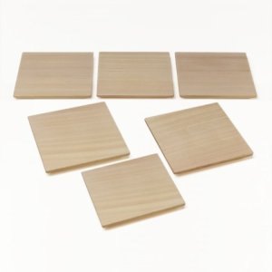 Photo: Wooden Containers and Tableware / Square Wooden Serving Plate Set (6 pieces)