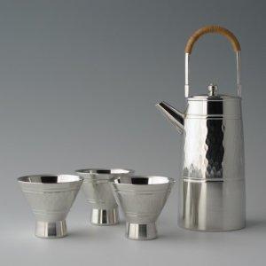 Photo: Pewter Lidded Decanter and Sake Cup Set: Diamond Pattern