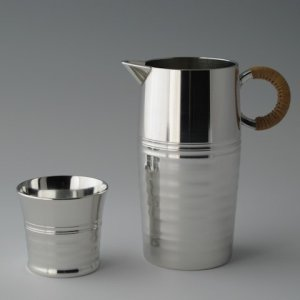 Photo: Pewter Decanter and Sake Cup Set: Rippling Wave Pattern